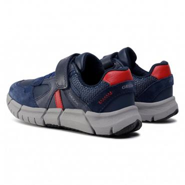 GEOX BOYS VELCRO LACE TRAINER - NAVY RED