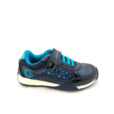 GEOX GIRLS VELCRO LACE TRAINER - NAVY BLUE