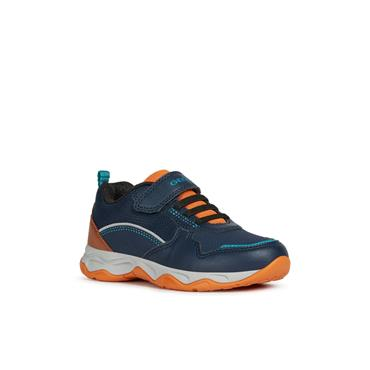 GEOX BOYS VEL LACE RUNNER - NAVY ORANGE