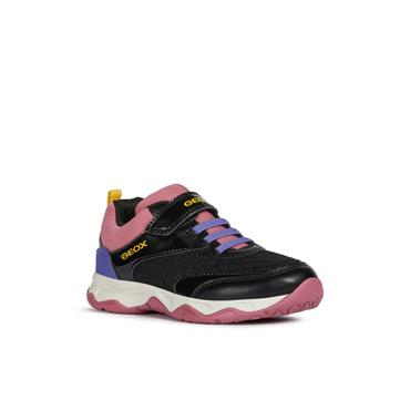 GEOX GIRLS VEL LACE RUNNER - BLACK FUCHSIA