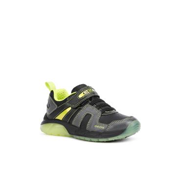 GEOX BOYS VELCRO LACE LIGHTS TRAINER - BLACK LIME