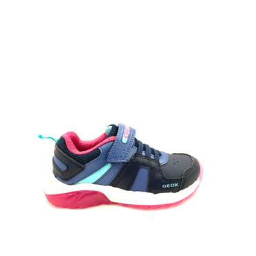 GEOX GIRLS VEL LACE LIGHTS RUNNER - NAVY FUCHSIA