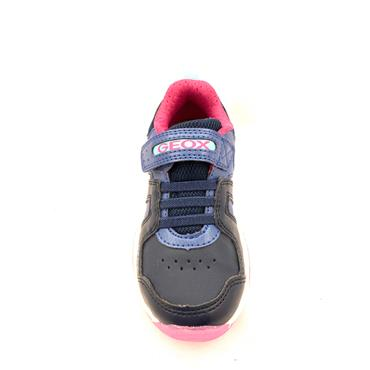 GEOX GIRLS VELCRO LACE LIGHTS TRAINER - NAVY FUCHSIA