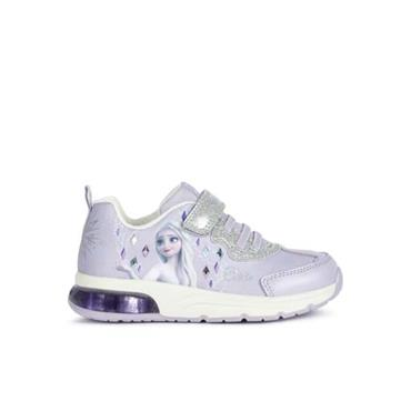 GEOX GIRLS DISNEY VELCRO STRAP TRAINER - LILAC SILVER