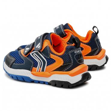 GEOX BOYS 2 VELCRO STRAP TRAINER - NAVY ORANGE