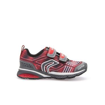 GEOX BOYS 2 STRAP VEL RUNNER - RED GREY