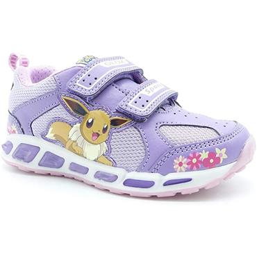GEOX GIRLS 2 VELCRO STRAP LIGHTS TRAINER - LILAC