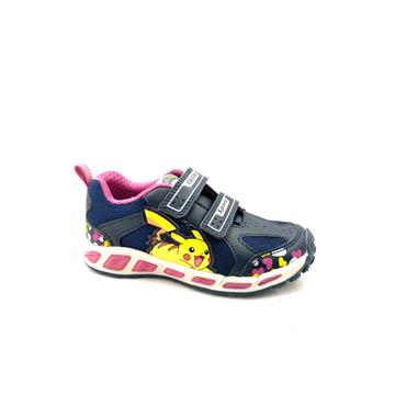 GEOX GIRLS 2 VELCRO STRAP LIGHTS TRAINER - NAVY FUCHSIA