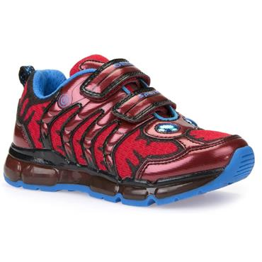 GEOX BOYS 2 VEL STRAP RUNNER - RED BLUE
