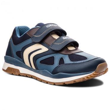 GEOX BOYS 2 VEL STRAP RUNNER - NAVY BLUE