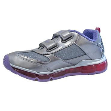 GEOX GIRLS 2 VELCRO STRAP LIGHTS TRAINER - SILVER LILAC