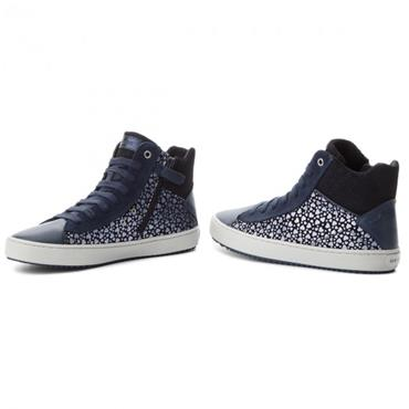 GEOX GIRLS ZIP LACE ANKLE BOOT - NAVY
