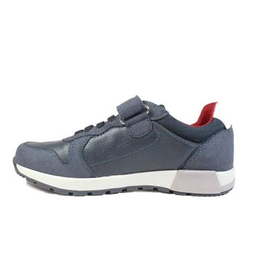 GEOX BOYS VELCRO STRAP LACE TRAINER - NAVY GREY