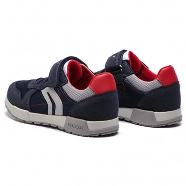 GEOX BOYS VELCRO STRAP LACE TRAINER - NAVY RED