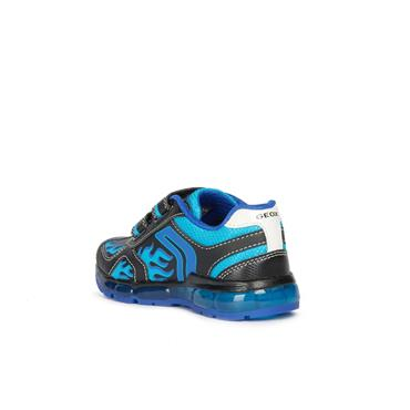 GEOX BOYS 2 VELCRO STRAP LIGHTS TRAINER - BLACK BLUE