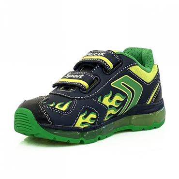GEOX BOYS 2 VELCRO STRAP LIGHTS TRAINER - NAVY LIME