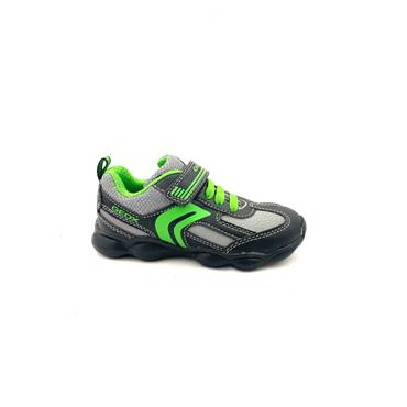 GEOX BOYS VEL STRAP LACE RUNNER - BLACK GREEN
