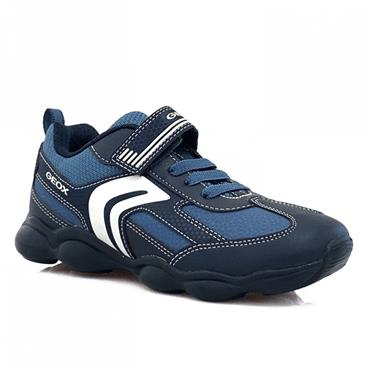 GEOX BOYS VELCRO STRAP LACE TRAINER - NAVY BLUE