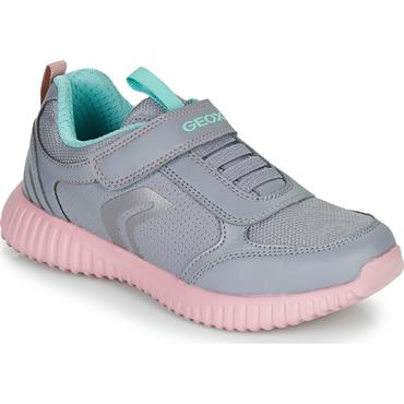 GEOX GIRLS VELCRO LACE TRAINER - GREY ROSE