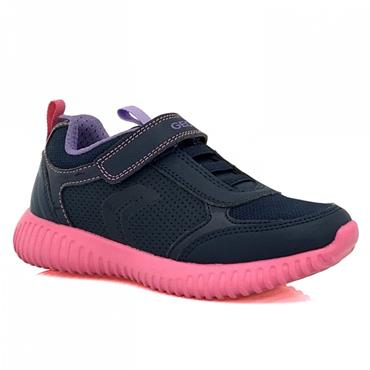 GEOX GIRLS VELCRO LACE TRAINER - NAVY FUCHSIA