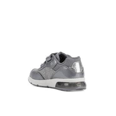 GEOX GIRLS 2 VELCRO LIGHTS TRAINER - DARK GREY