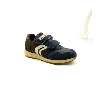 GEOX BOYS 2 VEL STRAP RUNNER - NAVY BROWN