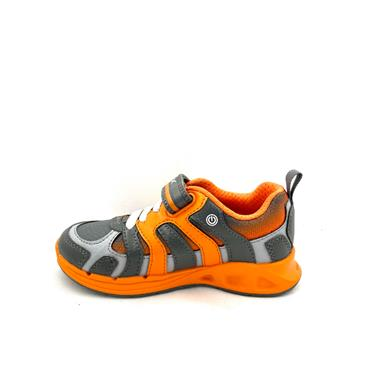 GEOX BOYS VEL LACE RUNNER - GREY ORANGE