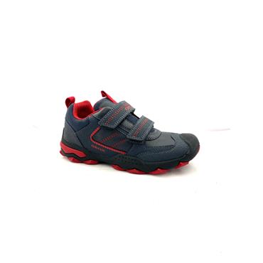 GEOX BOYS 2 VEL STRAP RUNNER - NAVY RED