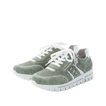 RIEKER WOMENS LACE ZIP TRAINER - GREEN