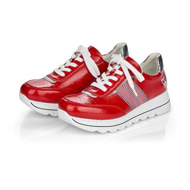 RIEKER WOMENS LACE TRAINER - RED PATENT