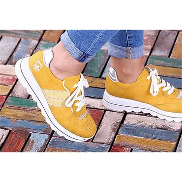RIEKER WOMENS LACE TRAINER - YELLOW SUEDE