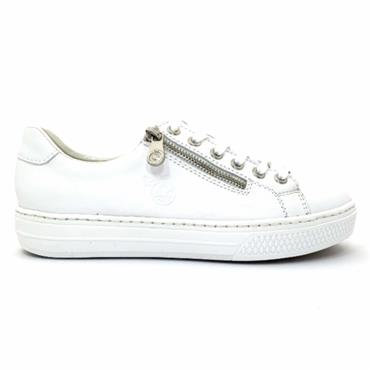 RIEKER WOMENS ZIP LACE TRAINER - WHITE
