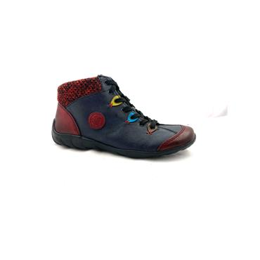 RIEKER WOMENS JUMPER TOP LACE ANKLE BOOT - BLUE MULTI