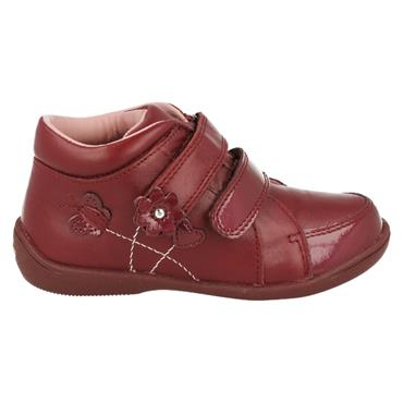 STARTRITE GIRLS F FIT VELCRO STRAP BOOT - WINE LEATHER