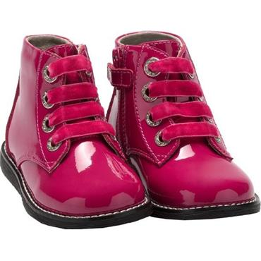 LELLI KELLY GIRLS LACE ANKLE BOOT - FUXIA PATENT