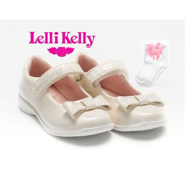LELLI KELLY GIRLS BOW VEL STRAP SHOE - WHITE PATENT