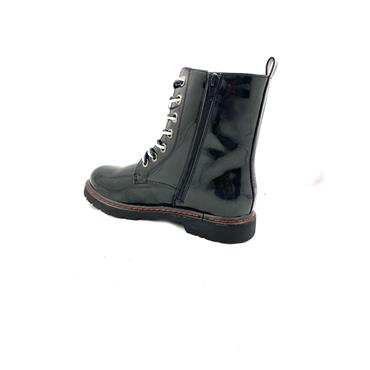 GJK LDS 7 EYE ZIP TIE BOOT - BLACK PATENT