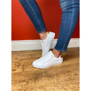 TOMMY BOWE WOMENS LACE TRAINER - WHITE GOLD