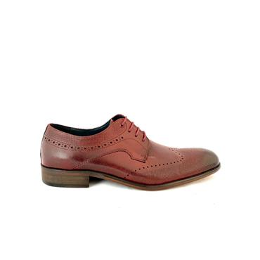MORGAN MENS LACE BROGUE SHOE - BURGUNDY LEATHER
