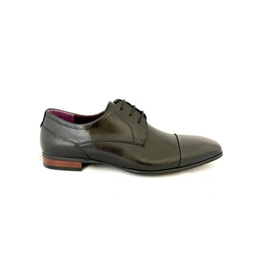 MORGAN MENS DRESS T/CAP LACE SHOE - BLACK LEATHER