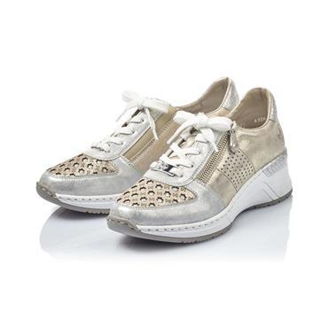 RIEKER WOMENS LACE ZIP TRAINER - ICE NUDE