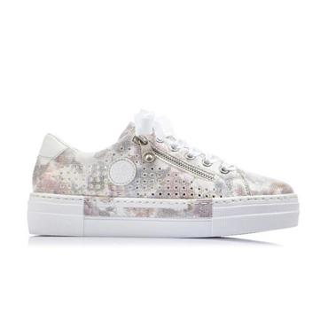 RIEKER WOMENS CHUNKY LACE TRAINER - WHITE MULTI