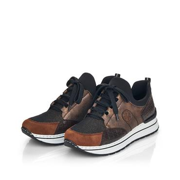 RIEKER WOMENS LACE TRAINER - BROWN MULTI