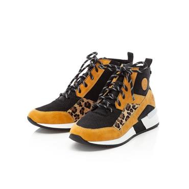 RIEKER WOMENS LACE LEOPARD ANKLE BOOT - YELLOW MULTI