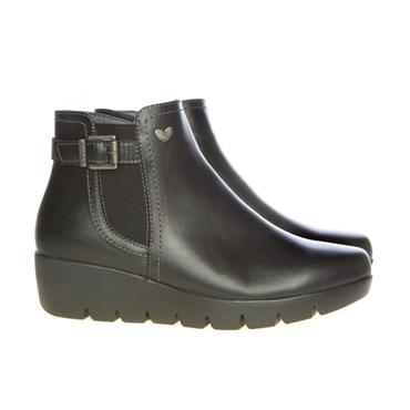 SUSST WOMENS WEDGE ZIP ANKLE BOOT - BLACK