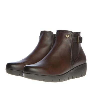 SUSST WOMENS WEDGE ZIP ANKLE BOOT - BROWN