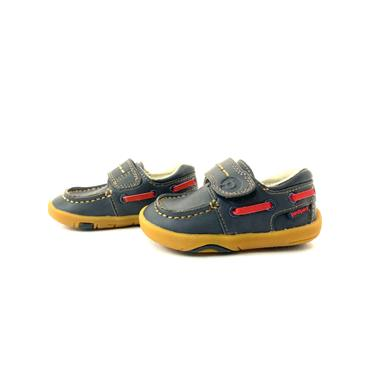 PEDIPED BOYS VEL DECK SHOE - NAVY