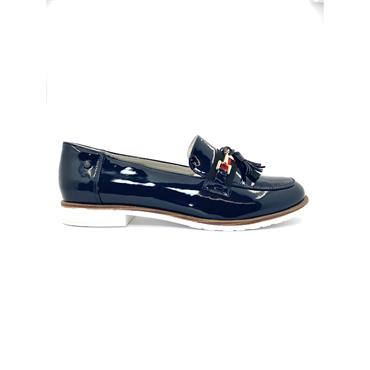ZANNI WOMENS FLAT CHAIN SHOE - NAVY PATENT