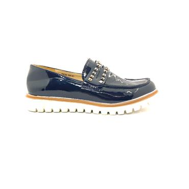 REDZ WOMENS WEDGE STUD LOAFER - NAVY PATENT