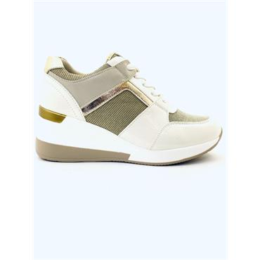REDZ WOMENS WEDGE LACE TRAINER - WHITE MULTI